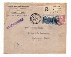 AFFRANCHISSEMENT COMPOSE SUR LETTRE A EN TETE RECOMMANDEE DE PARIS VIII 1947 - Poststempel (Briefe)