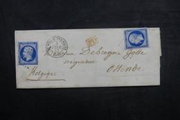 FRANCE - Lettre De St Pol/ Ternoise Pour La Belgique En 1857, Affranchissement Napoléons , Cachet PD Rouge - L 37952 - Marcofilie (Brieven)