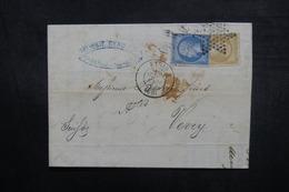 FRANCE - Lettre De Paris Pour La Suisse En 1867, Affranchissement Napoléons , Oblitération étoile - L 37955 - Postmark Collection (Covers)