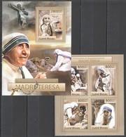 BC511 2012 GUINE GUINEA-BISSAU 15TH ANNIVERSARY DEPARTURE OF MOTHER TERESA KB+BL MNH - Mother Teresa
