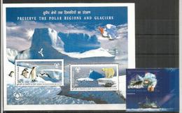Preservation Des Régions Polaires. Arctique & Antarctique,emission Conjointe INDIA-RUSSIA.Bloc-feuillet + Timbre Neufs** - Preservare Le Regioni Polari E Ghiacciai