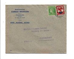 AFFRANCHISSEMENT COMPOSE SUR LETTRE A EN TETE DE MULHOUSE 1947 - Marcophilie (Lettres)