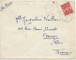 LETTRE 1955 AVEC TIMBRE DE FRANCHISE MILITAIRE ET CACHET DE AGOUNI GUEGHRANE - ALGER - - Poststempel (Briefe)