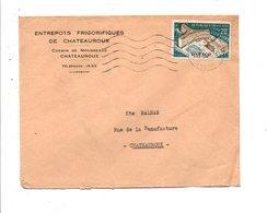 N° 1177 SEUL SUR LETTRE DE CHATEAUROUX 1958 - Marcophilie (Lettres)