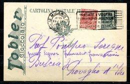 Z1546 ITALIA REGNO 1920 Cartolina Postale Pubblicitaria 15 C. TOBLER Cioccolato, Fil. R3A-84, Con Francobollo Aggiunto, - 1900-44 Vittorio Emanuele III