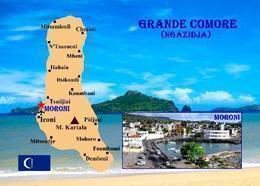 Comoros Grande Comore Island Map Comores New Postcard Komoren Landkarte AK - Comoros