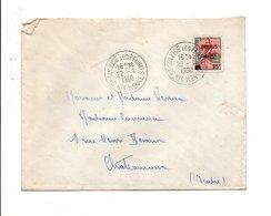 N° 1229 SEUL SUR LETTRE DE SAINT SULPICE LES FEUILLES HAUTE VIENNE 1960 - Marcophilie (Lettres)