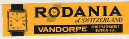 AUTOCOLLANT . STICKER . RODANIA . OF  SWITZERLAND . VANDORPE . GENTSESTEENWEG 7. BEVEREN-LEIE . - Pegatinas