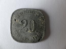 Jeton Monnaie De Nécessité En Aluminium. 20 C. Solidarité Commercial Et Industriel. 1918. Neuilly S/Seine - Monétaires / De Nécessité