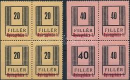 ** 1944/45 Nyíregyháza II. Vizsgálatlan ívsarki Négyestömbök, A 40f Széles Számmal Is (960.000) - Timbres