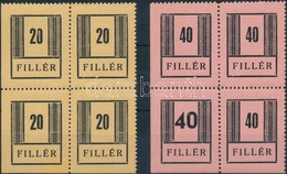 ** 1944/45 Nyíregyháza I. Vizsgálatlan ívsarki Négyestömbök, Az Egyik 20f értéken Sérült '0', A 40f Széles Számmal Is (1 - Stamps