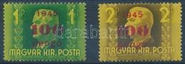 ** 1945 Ismeretlen Kisegítő Bélyegek: 100P Felülnyomás A Kormányzói Arcképsor 1P és 2P Bélyegein, Mindkettő Sárga Alapny - Timbres