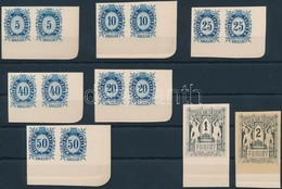 (*) 1874 Távirda Sor, Fogazatlan Próbanyomatok Kartonpapíron, A Krajcáros értékek ívsarki Párokban + A 2 Záróérték, Ezek - Timbres