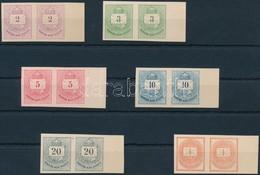 (*) 1874 Színes Számú Krajcáros + Hírlapbélyeg, Fogazatlan Próbanyomatok Kartonpapíron, 6 Klf érték ívszéli Párokban, Re - Timbres