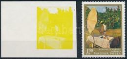 (*) 1967 Festmények III. 1,50Ft  Vágott ívszéli Bélyeg Magenta, Ciánkék, Fekete és Arany Színnyomat Nélkül. A Szakirodal - Timbres