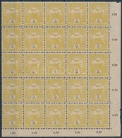 ** 1904 Turul 2f '2' Vízjelállás Negyed ív (100.000) (3 Bélyegen átmenő Gyártási Ránc) - Sin Clasificación