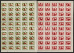 ** 1957 Vöröskereszt 100 Sor Teljes ívekben (90.000) (gyártási Ráncok / Creases) - Sin Clasificación