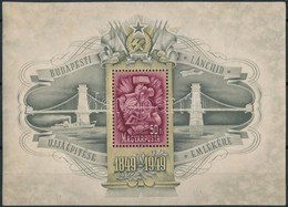 ** 1949 Lánchíd III. Blokk (80.000) (törések, Ráncok / Folds, Creases) - Timbres