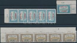 ** 1918 Repülő Posta Sor ötös Csíkokban ( 1 Db 1K50f Sarokhibás) + 1K50f ívsarki Bélyeg (82.500) - Timbres