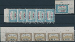 ** 1918 Repülő Posta Sor ötös Csíkokban ( 1 Db 1K50f Sarokhibás) + 1K50f ívsarki Bélyeg (82.500) - Sin Clasificación