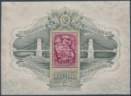 ** 1949 Lánchíd III. Blokk Fekvő Vízjellel (80.000) (apró Ráncok / Light Creases) - Timbres