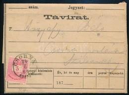 1882 Távirat Zombáról Szilsárkányra, Csornáról Postán Továbbítva, Színesszámú 5kr Bérmentesítéssel / Telegramm From Zomb - Timbres
