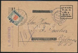 SHS 1919 Díjjegyes Levelezőlap (felülnyomott Osztrák-magyar Tábori Lap) Szarajevóból Bjelovárra 10f Portóval. Nagyon Rit - Timbres