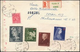 1942 Vöröskereszt II. Vágott és Fogazott Sor Díjkiegészítéssel 2 Db Cenzúrás Ajánlott Levélen Bécsbe, Hátoldalukon DUBE  - Sin Clasificación