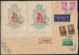 1939 Bethlen Blokkpár Díjkiegészítéssel Ajánlott Légi Levélen Az USA-ba - Stamps
