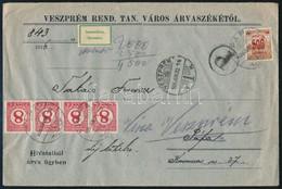 1926 500K és 4 X 8f Vegyes Portózás Hivatalos Levélen. Ritka! - Stamps