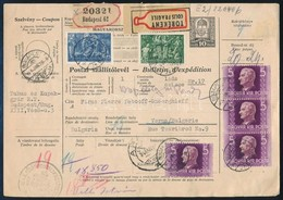 1944 Törékeny Csomag Szállítólevele Bulgáriába 20.24P Bérmentesítéssel. Ritka Darab!! - Timbres