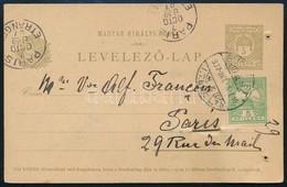 1907 Turul 5f Bélyeggel Kiegészített 5f Díjjegyes Levelezőlap Párizsba, Gombostűvel Hozzátűzött Vastag Szövetmintával, P - Unclassified