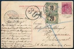 1905 Ceylonból érkezett Képeslap 30f Portóval. Érdekes és Ritka Küldemény!! - Timbres