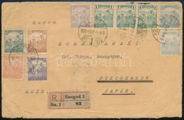 1922 Ajánlott Levél Szegedről  Japánba, Fukuokakenbe 36K Bérmentesítéssel, Yokohama átmenő Bélyegzéssel. Ritka Destináci - Timbres