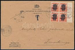 1920 ápr. 10. Levél Búzakalász 10f ívszéli 4-es Tömb + Arató 5f 4-es Tömb Bérmentesítéssel + 20f Portóval 'KISPEST' - Si - Unclassified