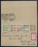1921 20f Díjjegyes Zárt Levelezőlap 'BASHALOM' Postaügynökségi Bélyegzéssel Santiago-ba (Chile) Küldve, Ritka Küldemény  - Timbres
