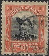 BRAZIL 1913 Official - Pres. Hermes De Fonseca - 100r - Black And Red FU - Dienstzegels