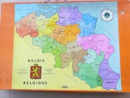 VIEUX PUZZLE EN BOIS CARTE DE LA BELGIQUE AVEC LES DIFFÉRENTES PROVINCES, COMPLET, MADE IN FRANCE - Puzzle Games
