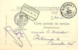Belgique. CP De Service Souvret > Courcelles-Nord  Via Trazegnies N° 2   1926 - Poststempel