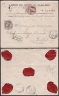 Belgique 1907 - Lettre COB 77+78 Sur Lettre Assurée De Charleroi Vers Duffel (DD) DC3785 - 1905 Grove Baard