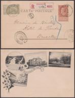 Belgique 1897 - COB 57 +59 Sur CP Recommandé De Spa Vers Bruxelles   (DD) DC 3800 - 1893-1900 Fine Barbe
