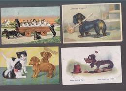 Chiens / Lot De 4 CP / Teckel / Illustrateur / Dont  Th.baver Wien, Dudley, Humoristiques ! - Hunde
