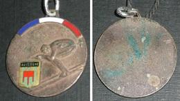 Rare Ancienne Médaille En Métal émaillé, Ski Skieur, Auvergne - Sports D'hiver