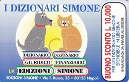 *G PRP 164 C&C 3255 SCHEDA TELEFONICA NUOVA MAGNETIZZATA SIMONE CANE E GATTO 2.000 L - Italia