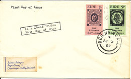 Ireland FDC 23-10-1967 Complete Set The Fenians 1867 - 1967 Sent To Denmark - FDC