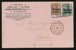 HENRI SCHEPERS FILS A WYNGENE  NAAR ASSE MET DUITSE CONTROLE STEMPEL 1916  2 SCANS - Asse