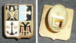 Rare Bouton De Col En Métal émaillé, Militaria, Armoiries, Ancre De Marine, Armure N°10, Croix Trilobée, Aigle Bicéphale - Other