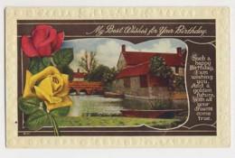 AJ01 Greetings - Birthday Greeting - River, Bridge, Boat, Flowers - Birthday