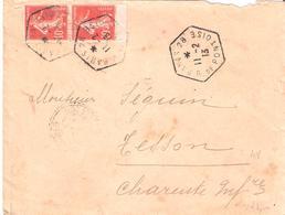 10c.paire Semeuse Camée Sur Lettre En Levée Exceptionnelle De PARIS 28 R.DE PONTOISE - 1877-1920: Période Semi Moderne
