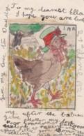 AO18 Animals - Handmade Postcard, Chicken Wearing A Bonnet - Birds